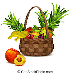 Fruits in basket - Natural organic tropical and garden...