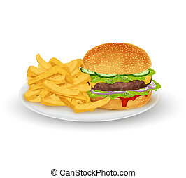 Hamburger on plate - Hamburger sandwich with French fries on...