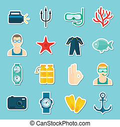 Diving Icons Set - Diving scuba icons stickers set of...