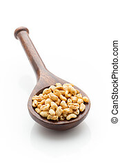 Corn flakes. - Corn flakes in a bowl isolated on a white...