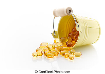 Cod-liver oil. - Cod-liver fish oil isolated on a white...