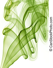 blue smoke - green rays smoke abstract in white background