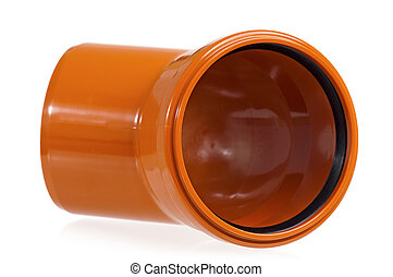 Drain pipe - New orange drain pipe, isolated on white...