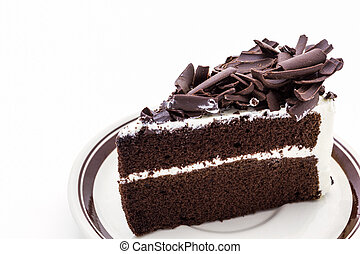 Chocolate cake slice.