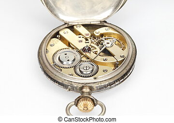 old watch - clock work inside view,old mechanical watch