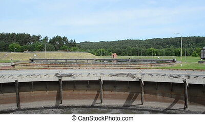 empty water clean pool - Part of empty old water treatment...