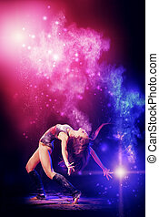 stardust - Beautiful expressive bellet dancer dancing at...