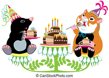 mole and hamster eating cake