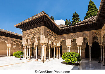 Lions Patio in Alhambra, Granada, Spain - One of the sides...