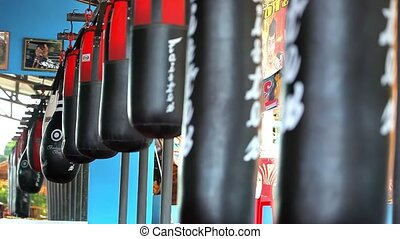 line hanging punching bag in a boxing gym Video shift motion...