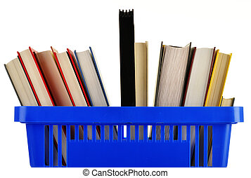 Plastic shopping basket with books isolated on white