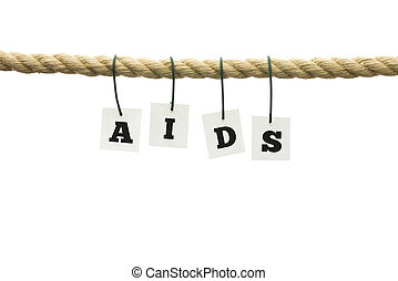 Aids awareness - Word Aids hanging off a frayed rope....