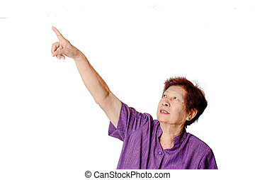 Asian Senior woman pointing with white background
