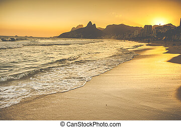 Warm Sunset on Ipanema Beach with People, Rio de Janeiro,...