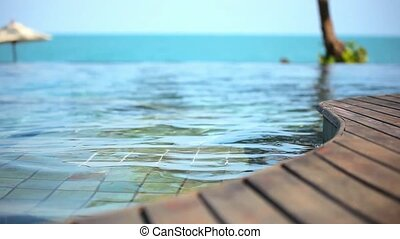 Swimming pool near the sea, island Koh Samui,Thailand. Set 3 clips Video shift motion