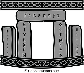ancient runic stones vector illustration