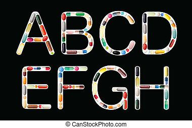 Alphabet with pills - Characters A,B,C,D,E,F,G and H on...