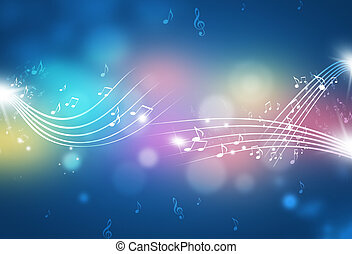 Abstract Music Notes Multicolor Background - music notes and...