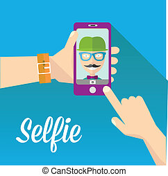 Taking Selfie Photo on Phone vector illustration - Taking...