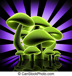 Mushrooms Design - Computer Generated Image - Mushrooms...