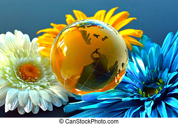 Glass, Paperweight,globe - Glass paperweight crystal clear...