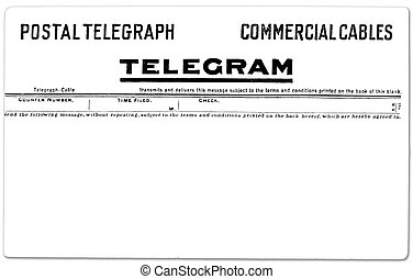 Vintage Telegram - Antique postal telegram with copy space...