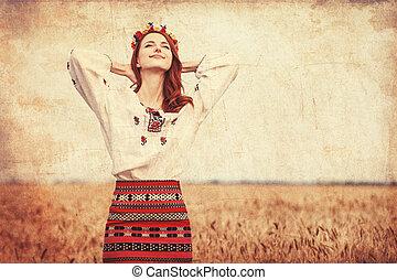 pelirrojo, niña, nacional, ucranio, ropa, trigo,...