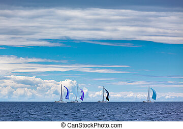 Yacht Regatta at the Adriatic Sea in windy weather...
