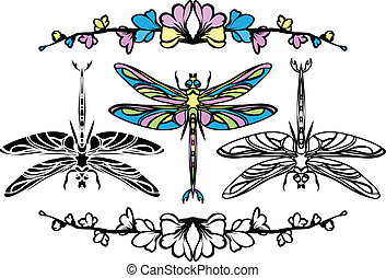 Set dragonflies, color, stencil and black variants
