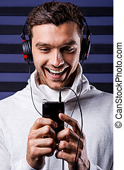 It is my favorite song Handsome young man in headphones...