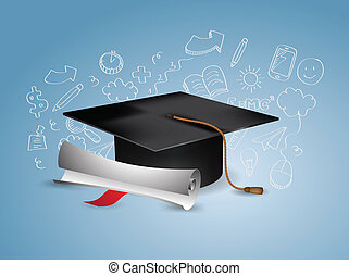 Black Graduation Cap with Degree - with doodles