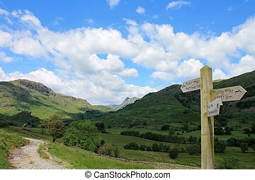 Little Langdale Cumbria - View towards the Langdale Pikes...