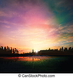 abstract nature dark background with forest lake sunset and...