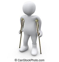 Person With Broken Foot - Computer Generated Image - Person...