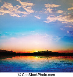 abstract sunset background with forest lake - abstract...