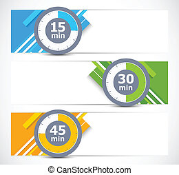 Set of banners with timers