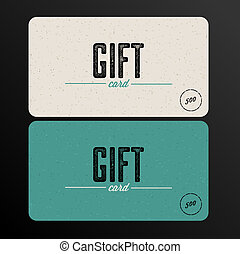 Retro Gift card teal template - Vector Retro Gift card teal...