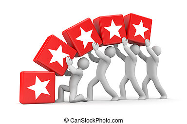 5 gold stars. Teamwork metaphor - Business concept. Isolated...
