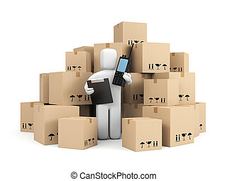 Warehouse worker - Transportation and shipping. Isolated on...