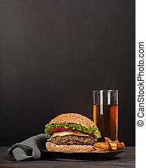 fresco, hamburguesa, Rápido, almuerzo, comida