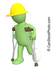 Builder with crutches - 3d puppet - builder with crutches