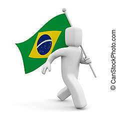 3d person with Brasil flag - Sign and symbol. Isolated on...