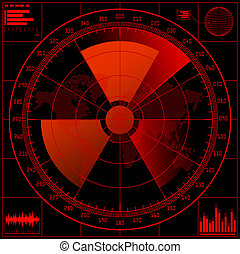 Radar screen with radioactive sign. - Radar screen with...