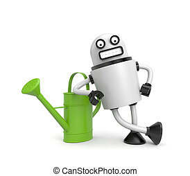Robot Worker with watering can