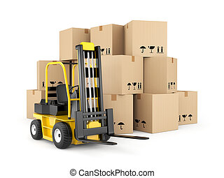 Forklift and cardboard boxes - Transportation and shipping....