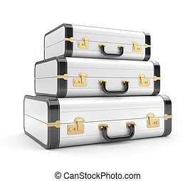 Three white vintage suitcase. Isolated on white