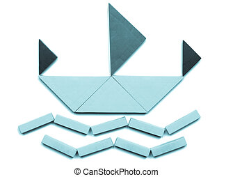 Tangram game toy with ship at sea - cool cyanotype