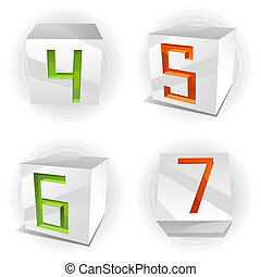 Vector cube alphabet numbers 4,5,6,7