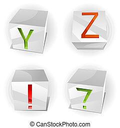 Vector cube alphabet letters A,B,C,D