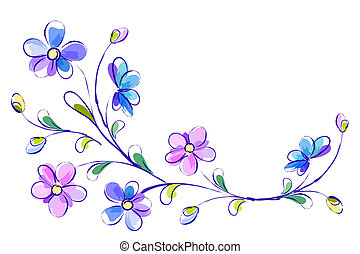 Horizontal white background with blue flowers